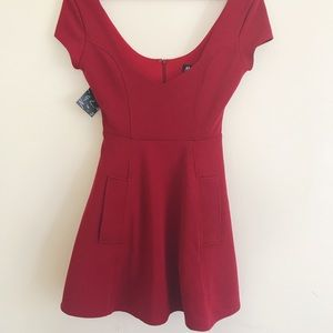 NWT Nasty Gal Christy Fit & Flare Red Dress XS